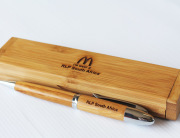Mc Donalds Engraved pen and case